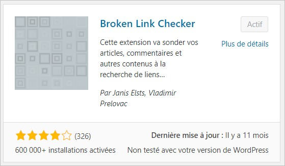 Broken Link Checker pour WordPress