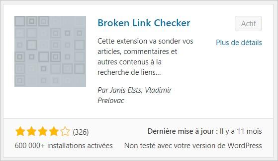 Broken Link Checker pour WordPress