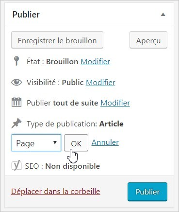 Changer un post en page sur WordPress