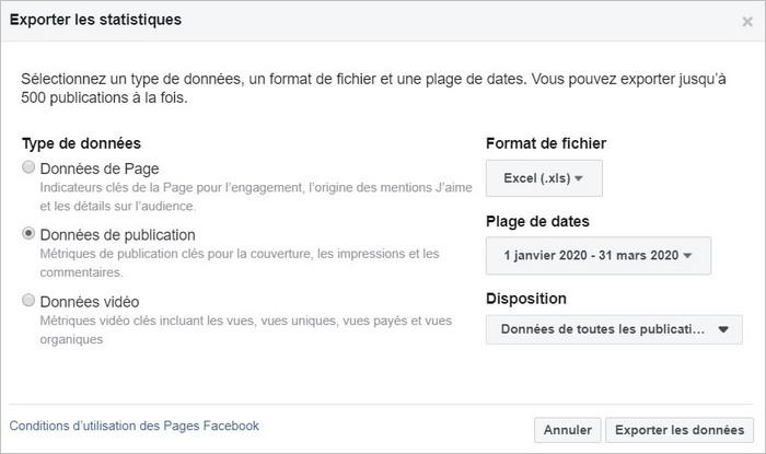 Exporter les statistiques Facebook