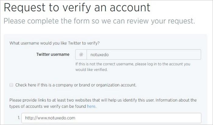 Demande de vérification d'un compte Twitter