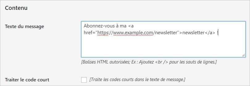 Mettre du texte dans un bandeau WordPress