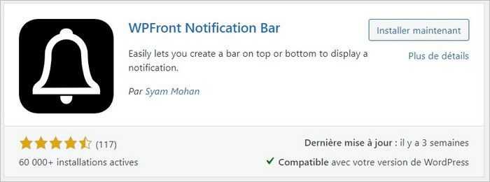 Installer WPFront Notification Bar
