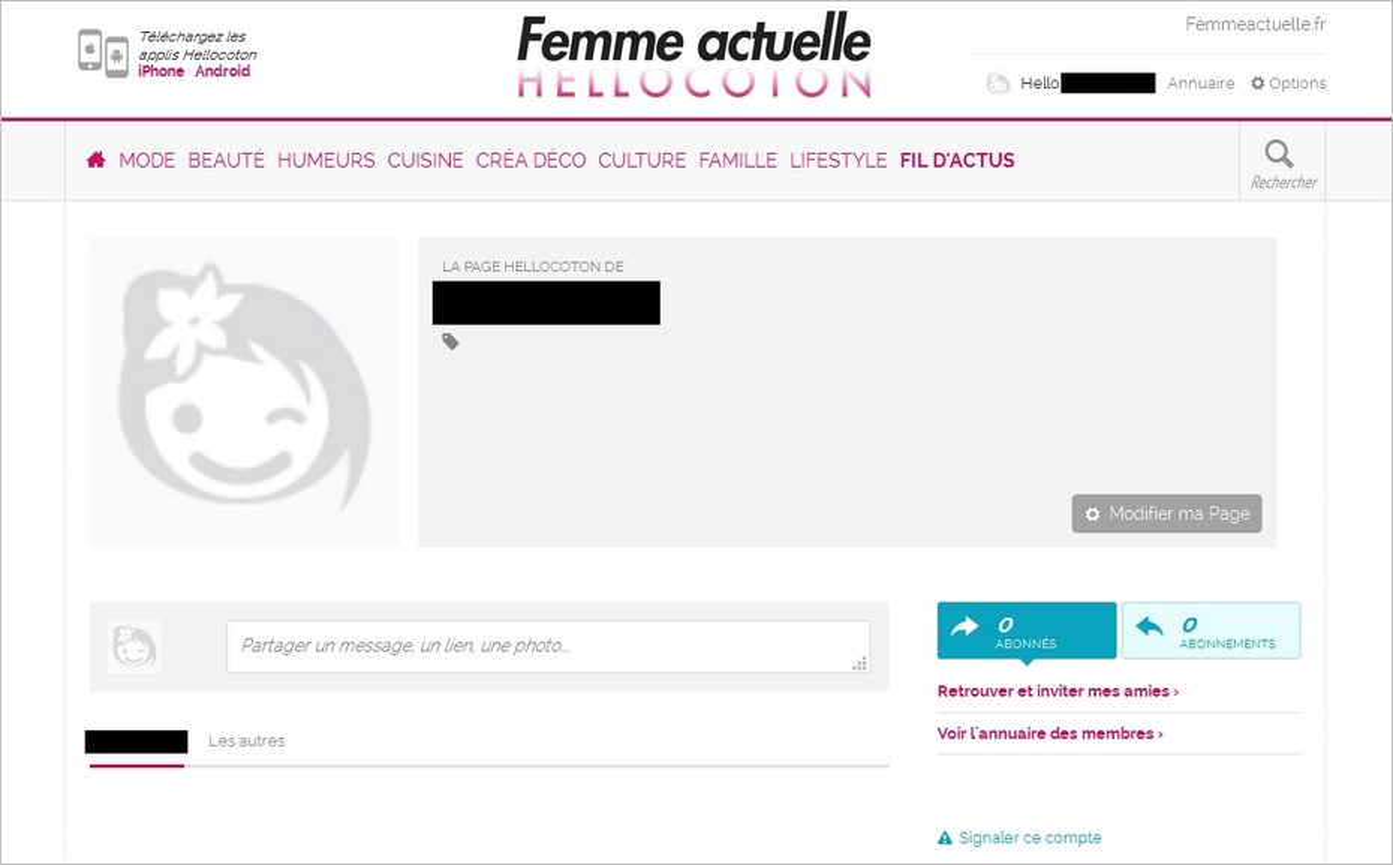 Un profil Hellocoton vide