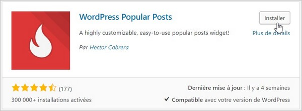 Installer WordPress Popular Posts