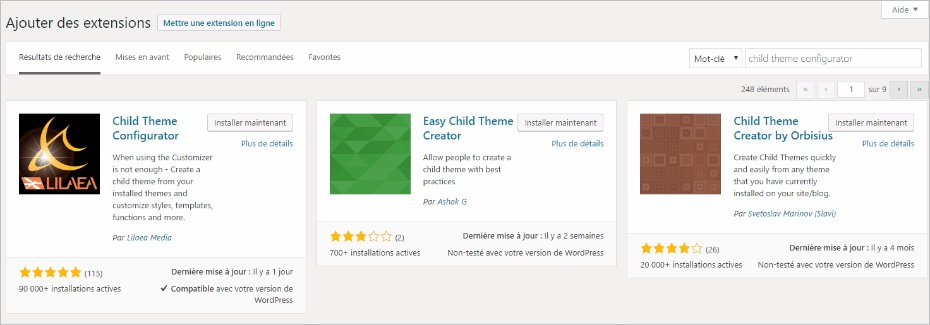 Installation de Child Theme Configurator