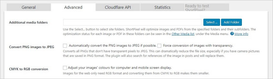 Options avancées du plugin Short Pixel