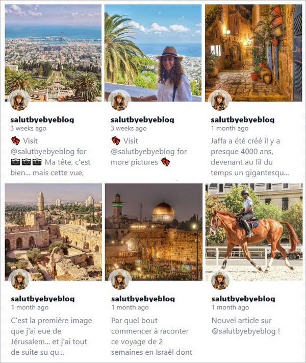 Un widget grid pour Instagram avec légende des photos