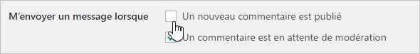 WordPress - Notifications des commentaires
