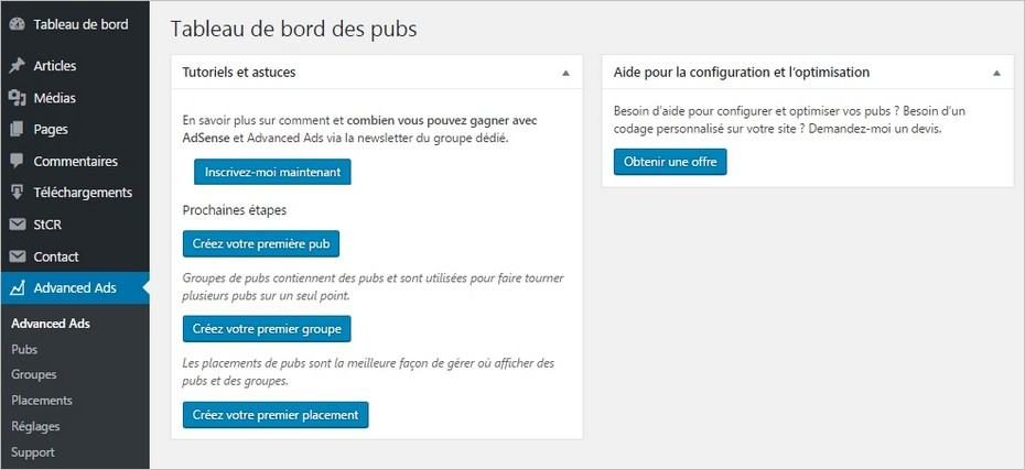 Tableau de bord du plugin Advanced Ads