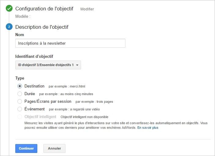Configurer un objectif sur Google Analytics