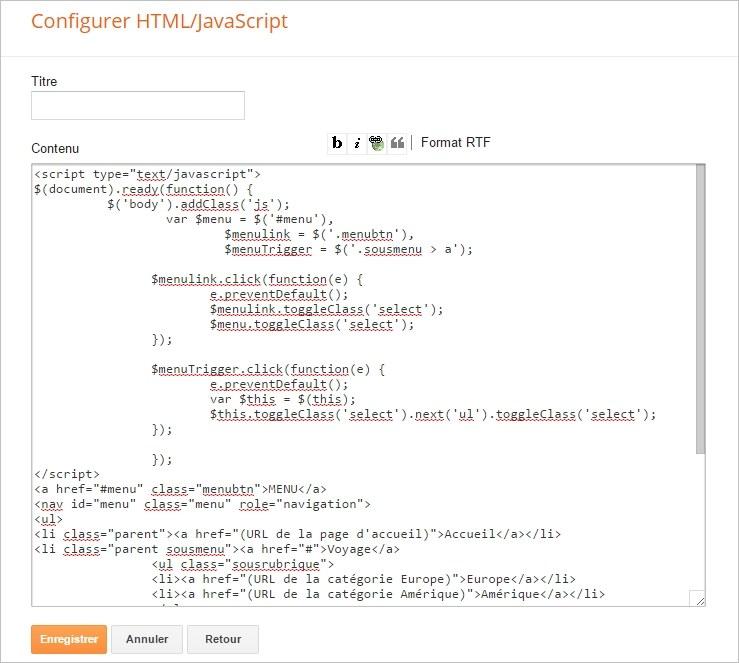 Gadget HTML/Javascript avec le code du menu déroulant