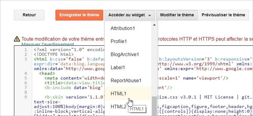 Accéder au widget sur Blogger