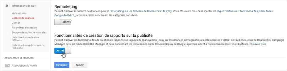 Activer les rapports publicitaires sur Google Analytics