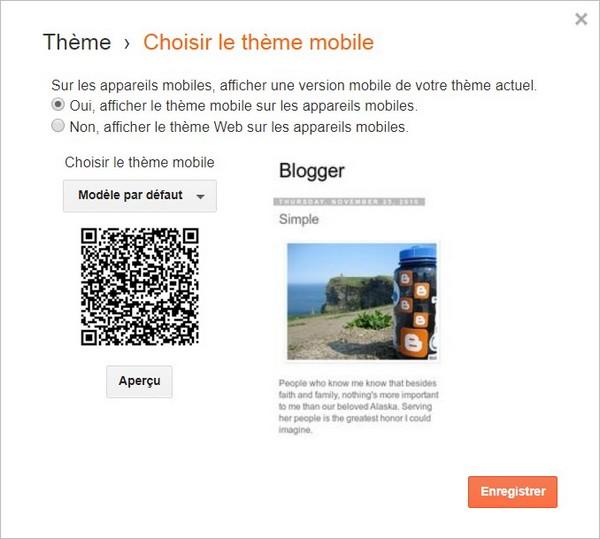 Choisir un thème mobile sur Blogger