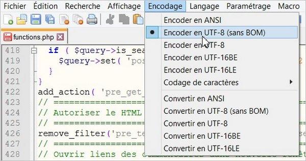 Encodage UTF-8 (sans BOM)