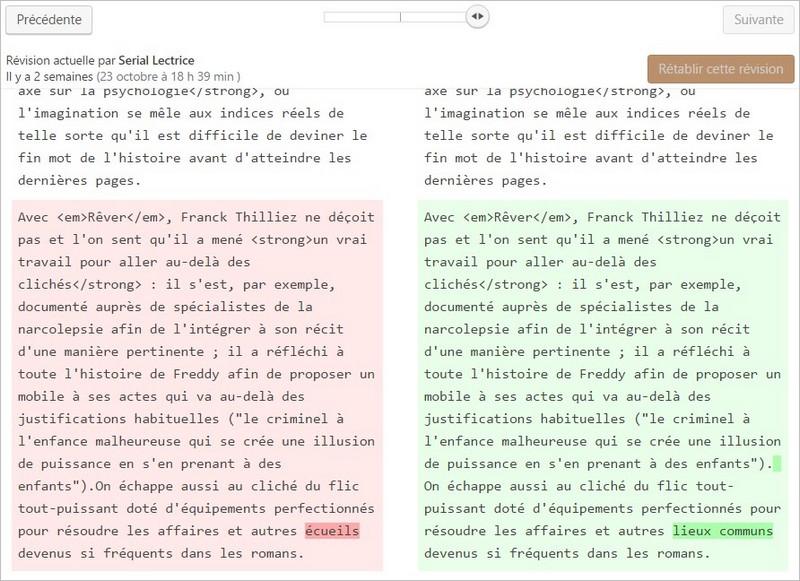 Comparer deux versions d'un article