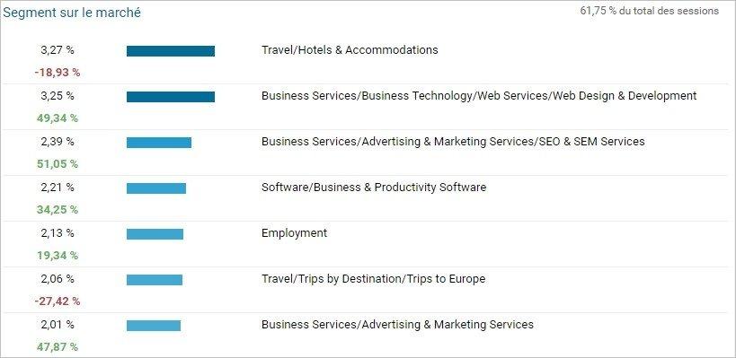 Rapport Google Analytics sur les centres d'intérêt