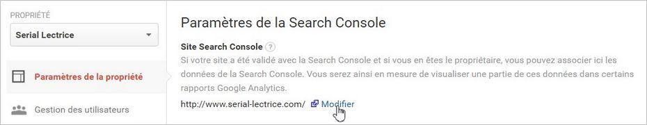 Associer Google Analytics à Google Search Console