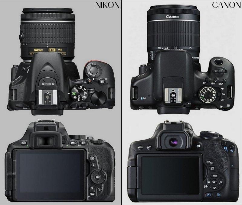 A gauche, le Nikon D5600 ; à droite, le Canon EOS 750D