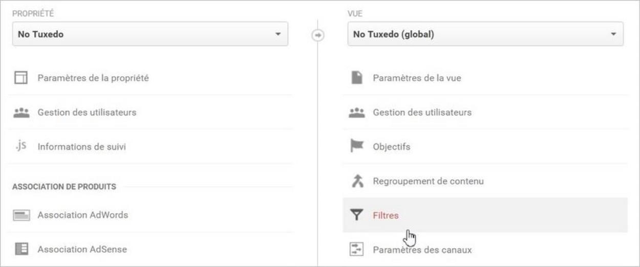 Créer un filtre sur Google Analytics