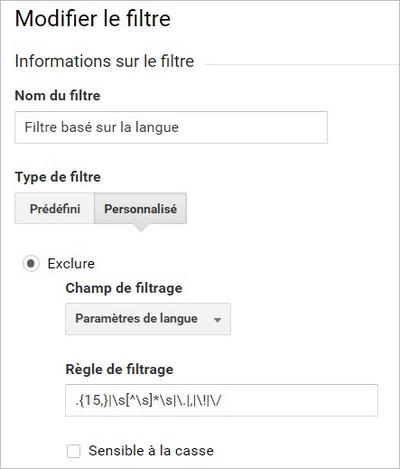 Filtre Analytics basé sur la langue