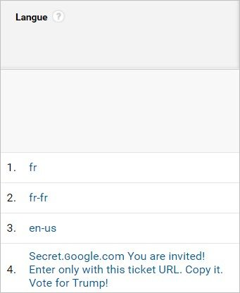 Une langue bizarre dans Google Analytics