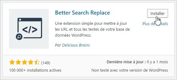 Le plugin Better Search Replace
