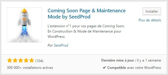 Activer le plugin Coming Soon Page & Maintenance Mode