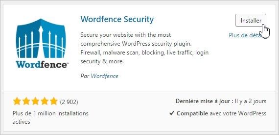 Installation du plugin Wordfence Security