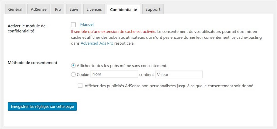 Onglet Confidentialité du plugin Advanced Ads