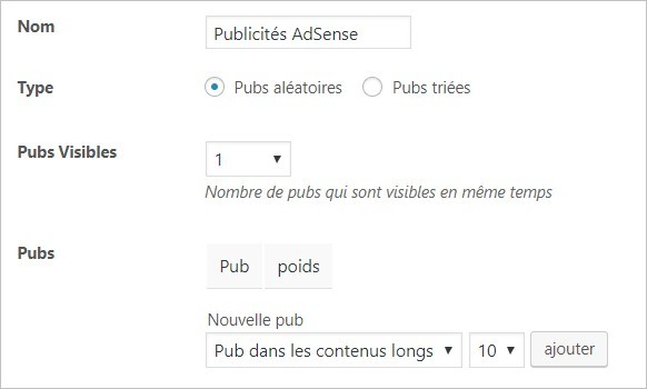 Options des publicités sur Advanced Ads