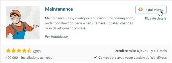 Le plugin Maintenance sur WordPress