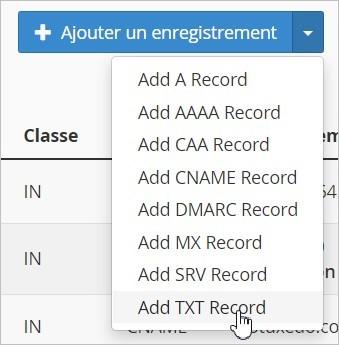 Ajouter un enregistrement DNS