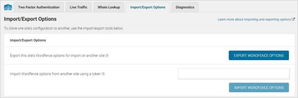 Import et export des réglages sur Wordfence