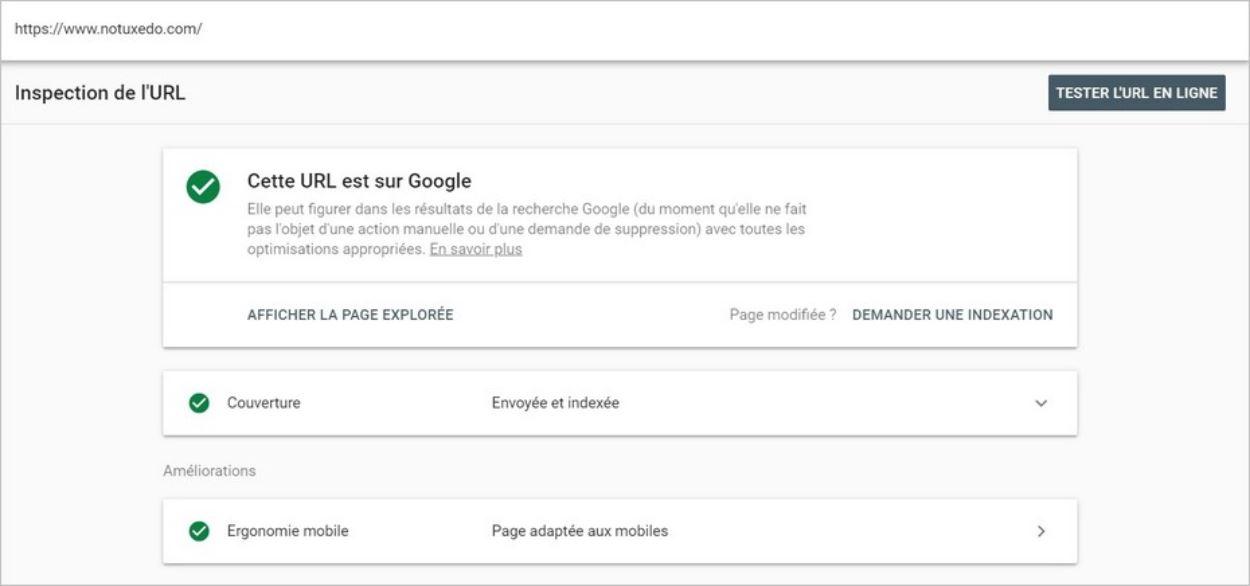 Inspection d'une URL indexée sur Google