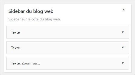 Nom et description de la sidebar personnalisée