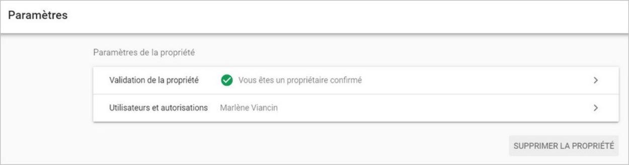 Paramètres sur Google Search Console