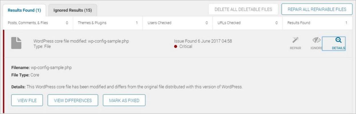 Exemple d'alerte signalant un fichier modifié