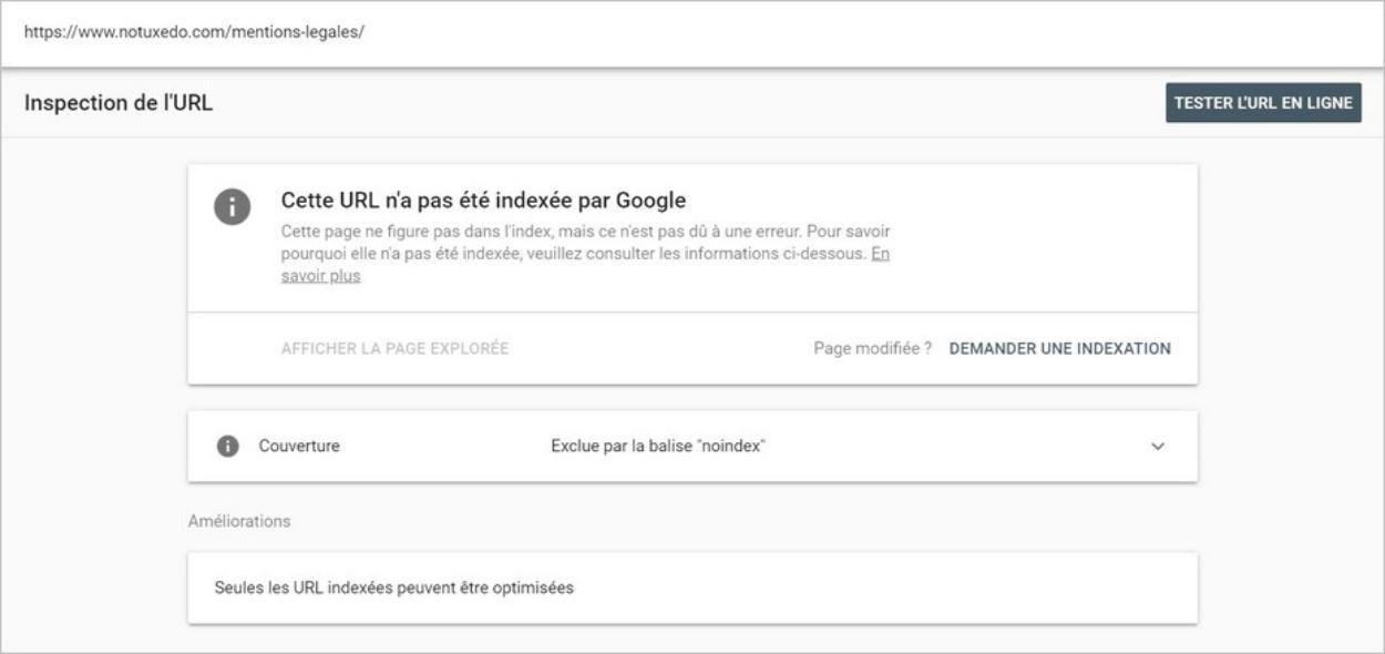 Inspection d'une URL non indexée sur Google