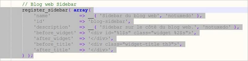 Une zone de widgets WordPress