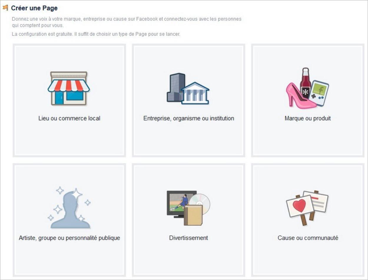Choisir le type de page Facebook adapté