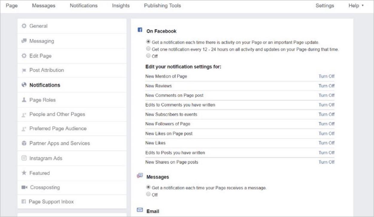 Notifications et rôles sur Facebook