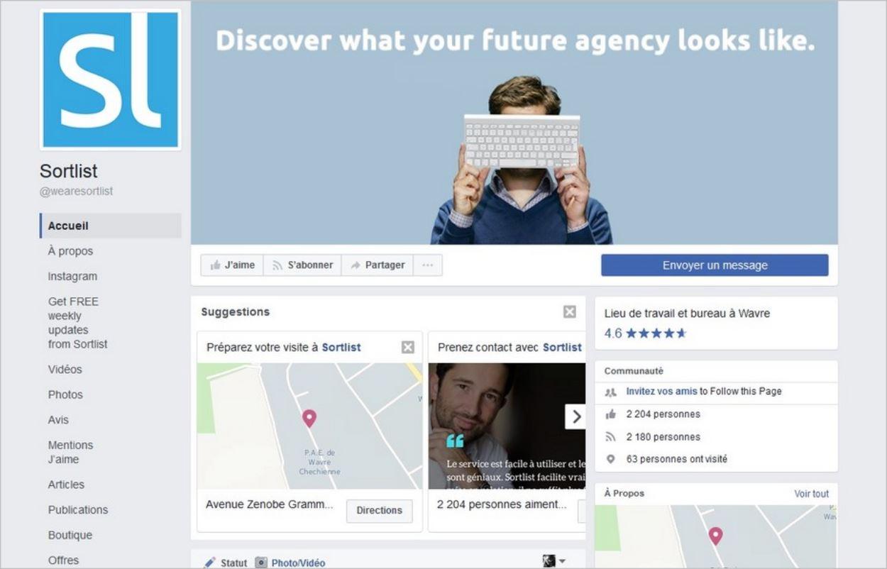 Créer sa page Facebook : l'exemple de Sortlist