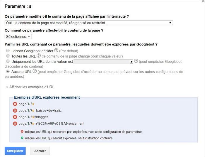Agir sur les paramètres d'URL avec Search Console