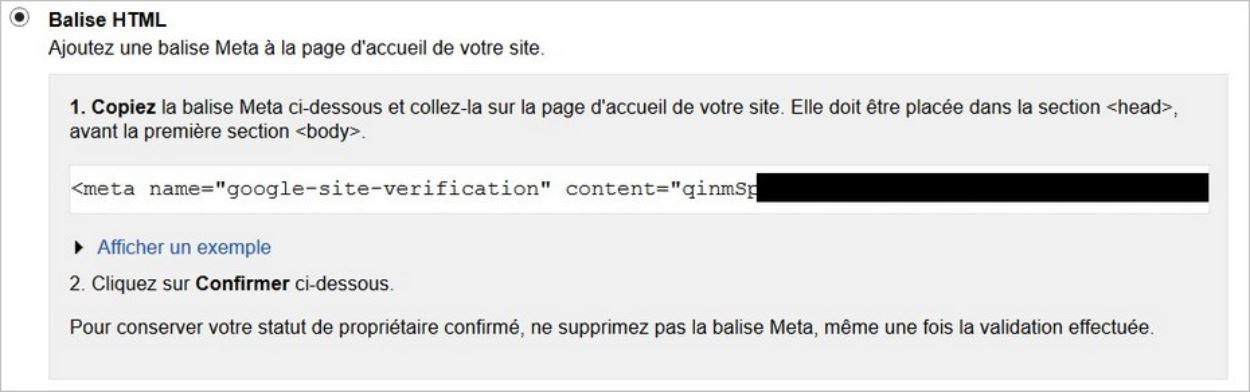 Valider un site sur Search Console - La méthode de la balise HTML