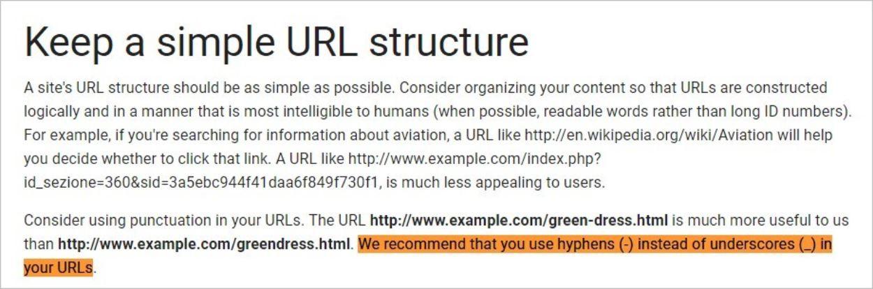 Conseils donnés par Google sur les URLs