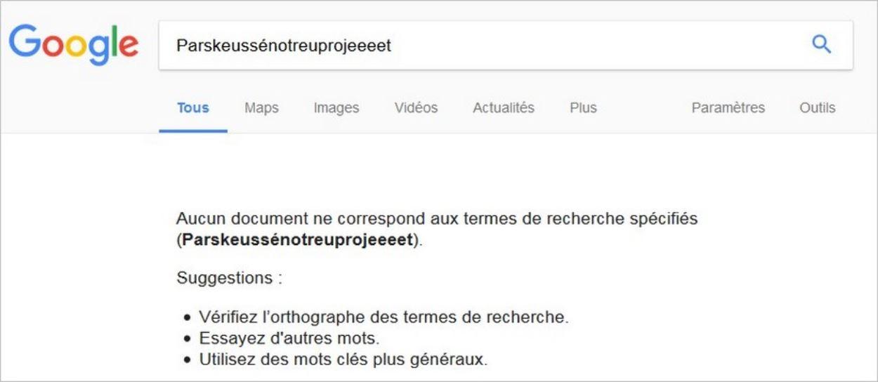 Un mot imaginaire sur Google