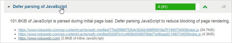 Defer parsing of Javascript - Après optimisation