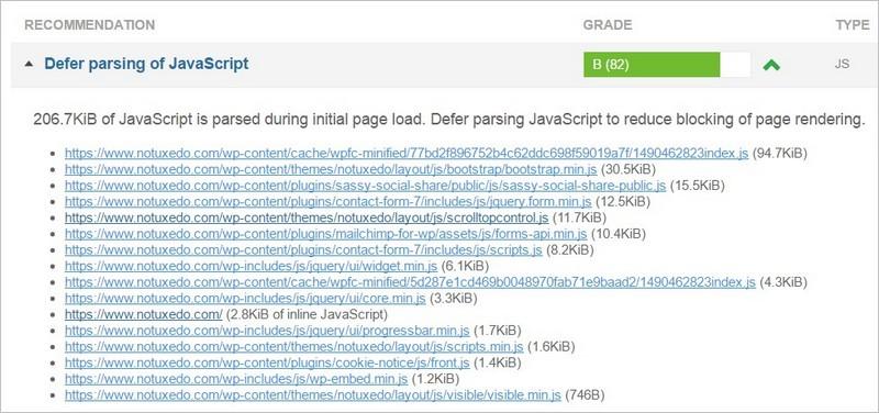 Defer parsing of Javascript - Avant optimisation